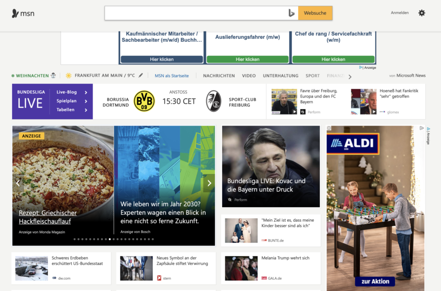 2 Native Ads integrated into the headlines – where says ANZEIGE in yellow, on the left. In MSN Germany