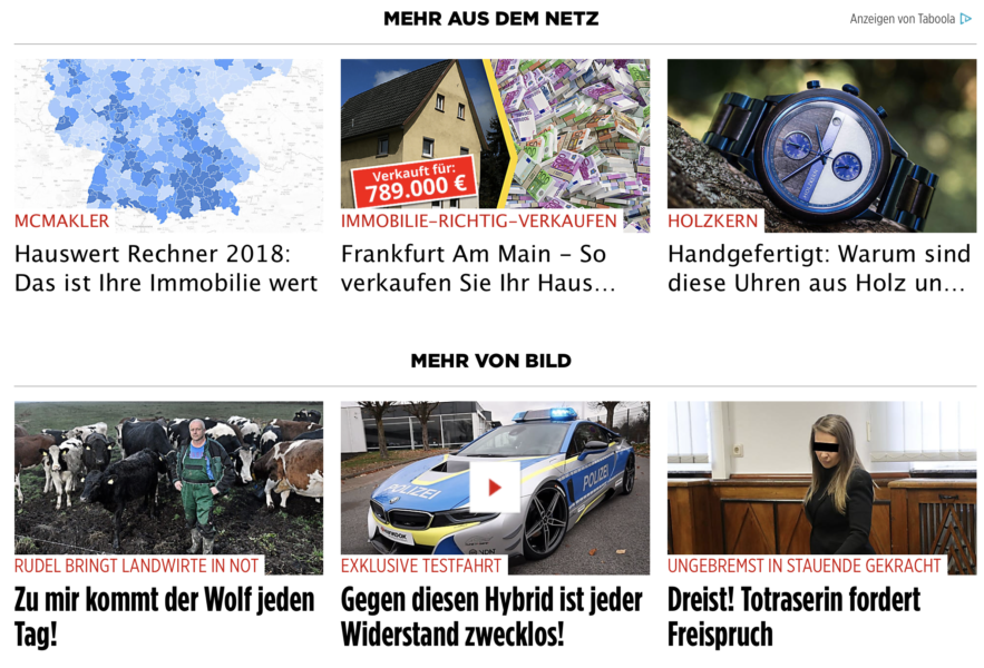Taboola recommended content in Bild