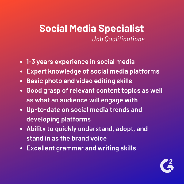 Trình độ công việc của Chuyên gia truyền thông xã hội